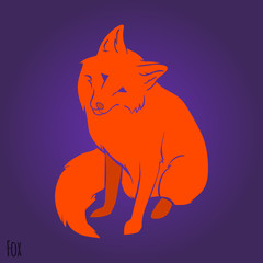 Red cute fox silhouette