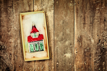 Retro styled image of vintage Christmas decoration