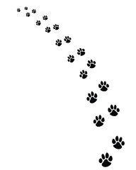 Black footprints of dogs, turn left-vector illustration