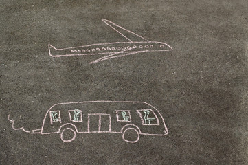 Children's drawing of transport with chalk