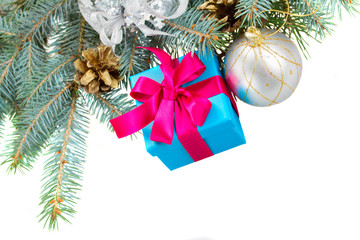 blue fir tree with gift box