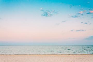 Soft Sea Ocean Waves Wash Over White Sand, Beach Background