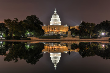 US Capitol in Washington DC at night
