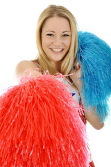 Cheerleader mit Pom Poms