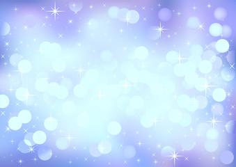 Blue winter festive lights, vector background.