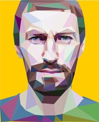 """Trendy """"low poly"""" style man head. vector concept"""