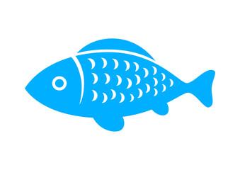 Blue fish icon on white background