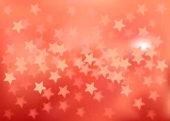 Red festive lights in star shape, vector background.