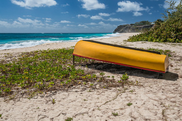 Barbados - yellow boat at Foul Bay on the east coast