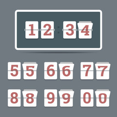 Flip clock in flat style with all flipping numbers. Vector