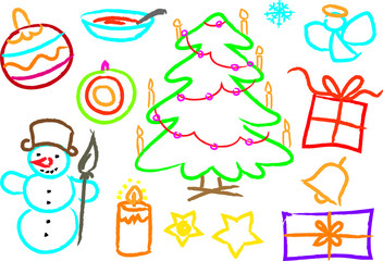 Children's drawings of kids,christmastree, snowman, objects
