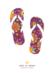 Vector colorful stars flip flops silhouettes pattern frame