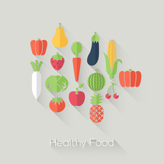 Healthy Food and Farm Fresh Concept. Flat style.