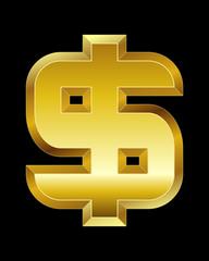 rectangular beveled golden font, dollar currency symbol
