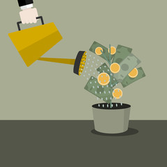 Money concept vector illustration . Watering the money tree