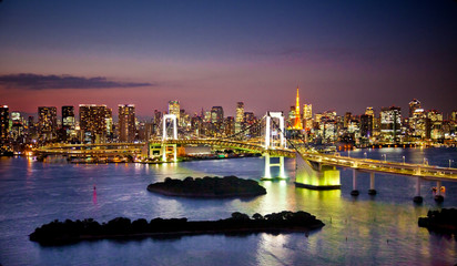 Fotomurales - Rainbow Bridge and Sumida River in Tokyo, Japan.