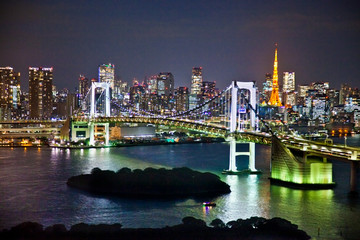 Wall Mural - Rainbow Bridge and Sumida River in Tokyo, Japan.