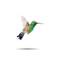 hummingbird origami (geometric style). colibri illustration of a