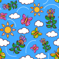Joyful spring or summer sky seamless pattern with butterflies