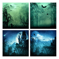 Set of assorted spooky backgrounds for your design