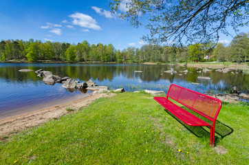 Beautiful Swedish lake scenery in spring season