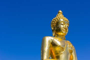 Big buddha isolated on  blue sky,Thailand