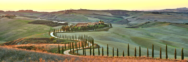 Cypress Tuscany in the beautiful landscapes of the setting sun. Fototapete