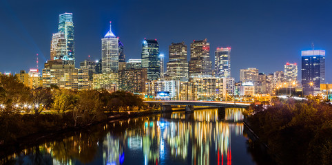 Fotomurales - Philadelphia cityscape panorama by night