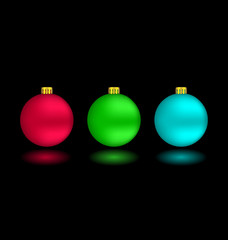 Three self-illuminated Christmas balls with reflection isolated