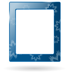 blue glassy frame with snowflakes isolated on white background