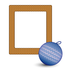 Knitted blue Christmas ball and orange frame isolated on white b