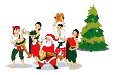 Vector of Santa with Thai dancing