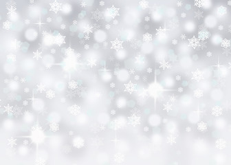 silver abstract falling snowflake bokeh background with sparkles
