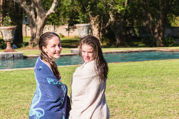 Girls Swim Pool Towels Drying