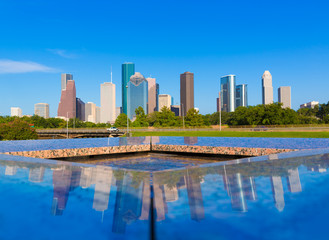 Wall Mural - Houston skyline and Memorial reflection Texas US
