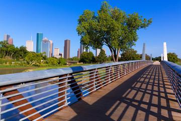 Fotobehang - Houston skyline from Memorial park at Texas US