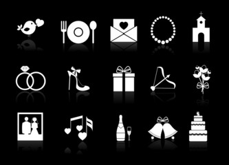 Vector wedding icons on a black background