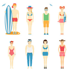 Icons of kids in summer clothing and swimsuits