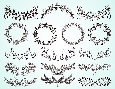 Set of hand-drawn floral borders and wreaths