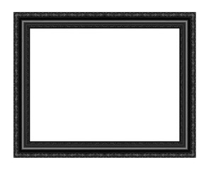Black picture frame carved wood frame Isolated on white backgrou