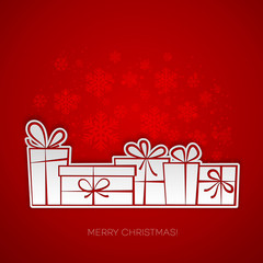 Merry Christmas gift greeting card. Paper design