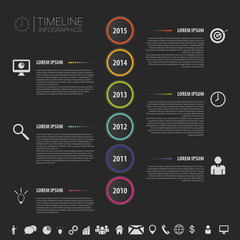 Flat colorful abstract timeline infographics vector with icons
