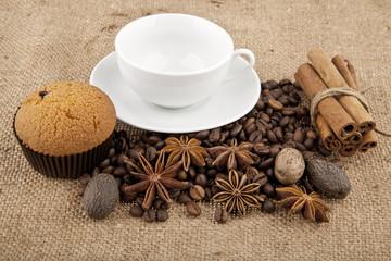 cakes, grains of coffee, seasonings and cup