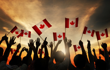 Aluminium Prints Canada Group of People Waving Canada Flags