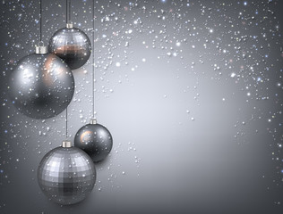 Background with silver christmas balls.