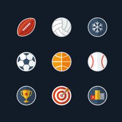 Flat design sport icons