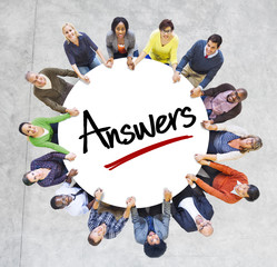 Multi-Ethnic Group of People and Answers Concepts