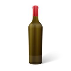 Glass red wine bottle. Vector illustration.