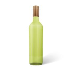 Glass white wine bottle. Vector illustration.