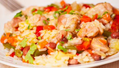 chicken with rice and vegetables